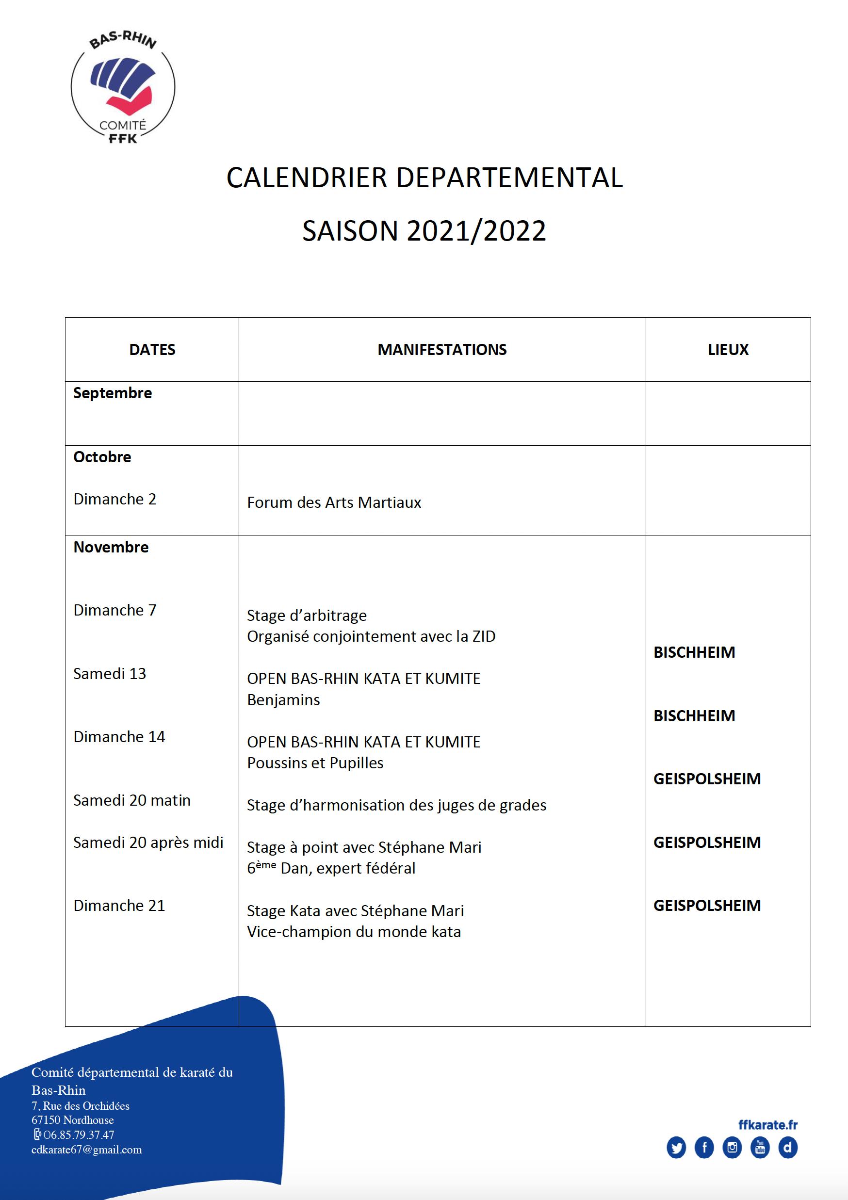 Calendrier départemental Saison 2021 / 22